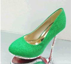 PP438 sweet glitter pumps w alien heels,US Size 4-9.5, green - $48.80