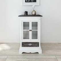 Vintage Display Cabinet White Glass Door Cupboard Small Chic Sideboard F... - $138.77
