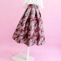 Pink Rose Flower Midi Skirt Plus Size Elegant A-line Pleated Midi Party Skirt image 4