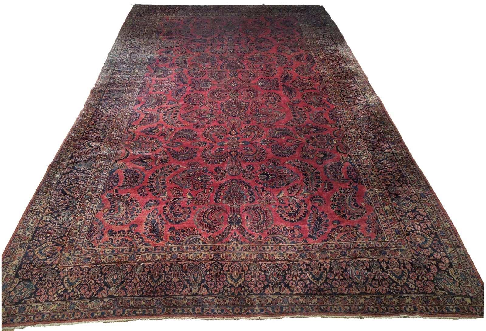 Red Sarouk Persian Wool Handmade Rug 11' x 18' Vivid Red Detailed Original Rug