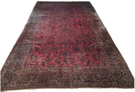 Red Sarouk Persian Wool Handmade Rug 11' x 18' Vivid Red Detailed Original Rug image 1