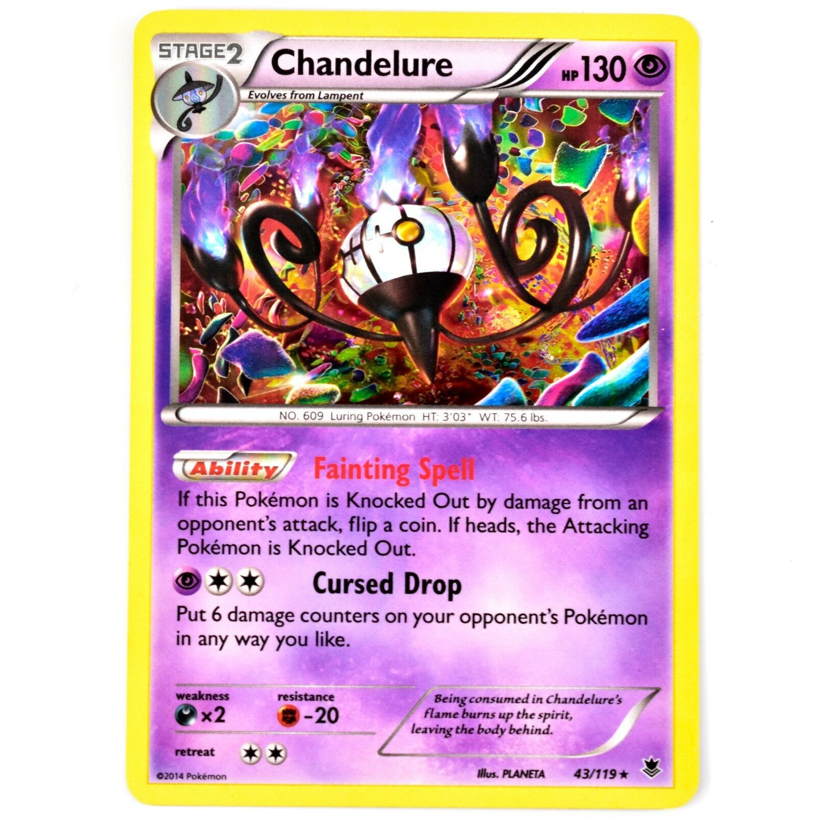 Pokemon TCG Chandelure 43/119 Phantom Forces Holo Shiny Card