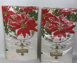 Vintage Reads Rembrandt Crate Table Cloth Cover Christmas Poinsettias 54... - $31.19 CAD