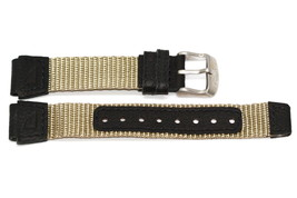16MM LEATHER NYLON BLACK KHAKI FS WATCH BAND FITS  FIELD EXPEDITION - $9.89