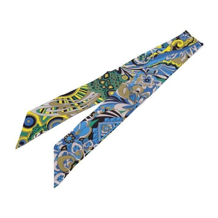 Hermes Tsuiri ribbon scarf silk multi-color blue yellow khaki black Auth