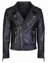 Men's Diamond Quilted Kay Michael Soft Leather Black Slim Fit Biker Jacket - FL5 - $98.99
