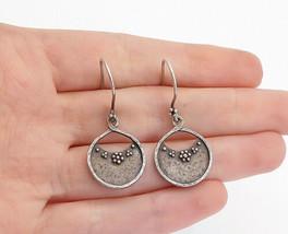 925 Sterling Silver - Vintage Dark Tone Flower Detail Dangle Earrings - E9433 - $23.66