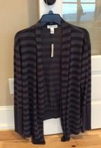 Forever 21 Cardigan Open Jacket Charcoal Black Striped Womens Medium Swe... - $10.99