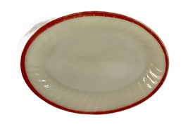 """FIRE KING Vintage Oval Platter Ivory With Red Trim 12"""" - $15.83"""