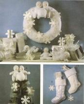 Stuffed Christmas Snow Babies Tree Topper Wreath Stocking Ornament Sew Pattern - $13.99