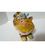 "Large Wooden Cat Figurine Laying Down W/ Jewels Butterfly On Head 11""L x 6"" - $14.85"