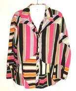 Vtg 90s Mirrors Womens Top blouse bright stripes color block button fron... - $16.78