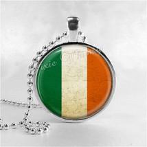 IRISH FLAG Pendant Necklace, St. Patrick's Day Jewelry, Glass Photo Art ... - $11.95