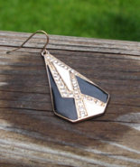 Single Earring, Art Deco Shape, Black Cream Enamel, White Crystal Dangle - $2.00