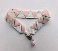 Handmade Cuff Bracelet Beadwork Seed Beads Peyote Stitch Delica Sterling... - $23.74