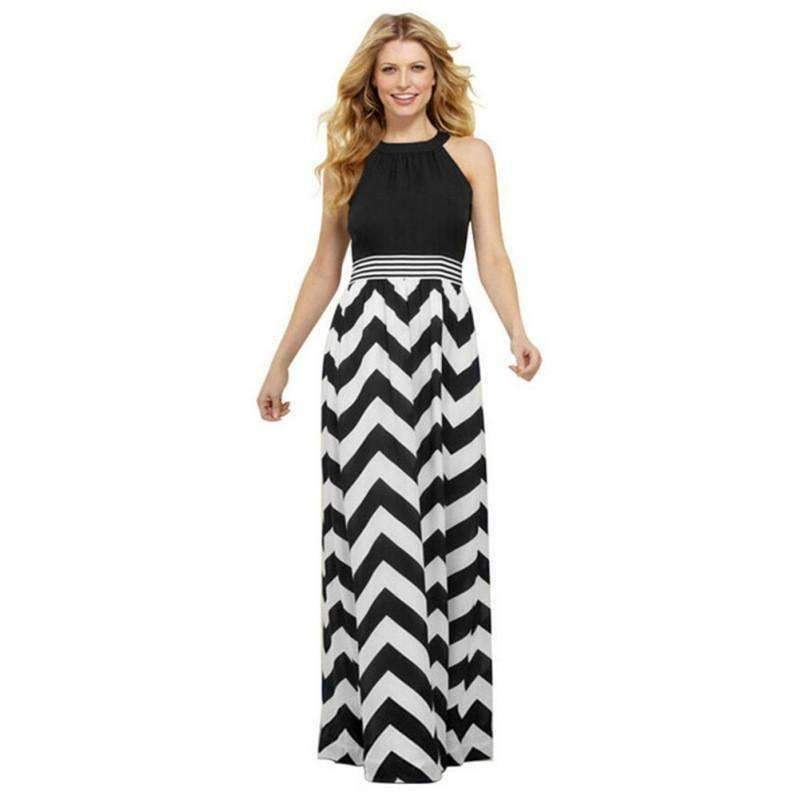 Boho Striped Sleeveless Chiffon Women Maxi Dress