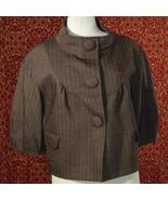 NWT GIANNI BINI brown tweed wool blend elbow sleeve jacket M (T17-02J7G)  - $22.75