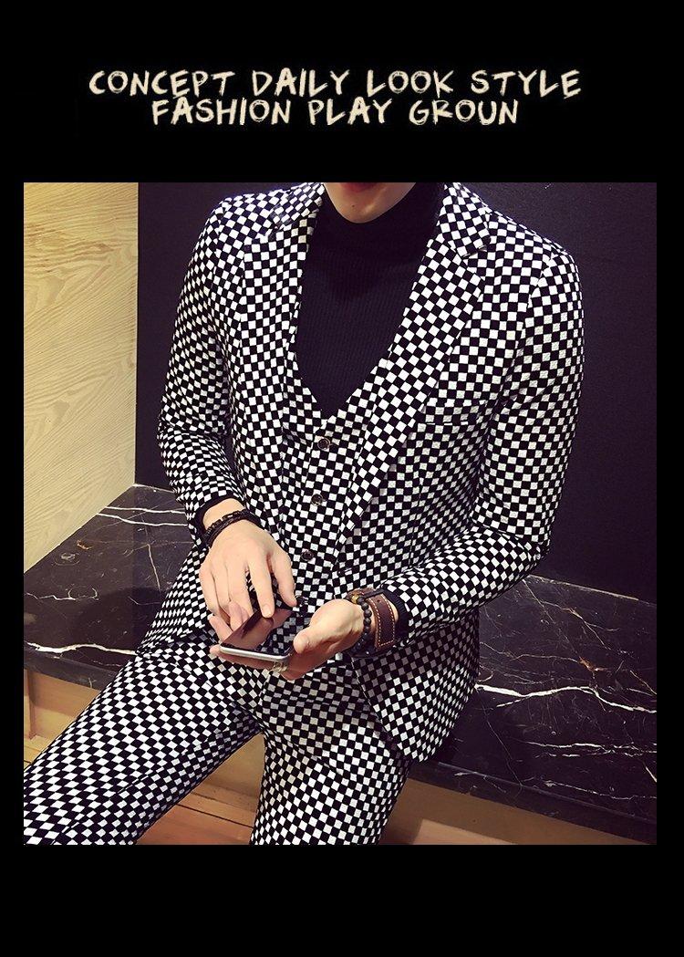 Men Plaid Fashion Slim Fit 3 Pieces Casual Business Suit Wedding Dress Suit Stag