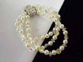 3 Strand Faux PEARL AB Glass Bead Rhinestone Cuff Bracelet Vintage PROM ... - $19.79