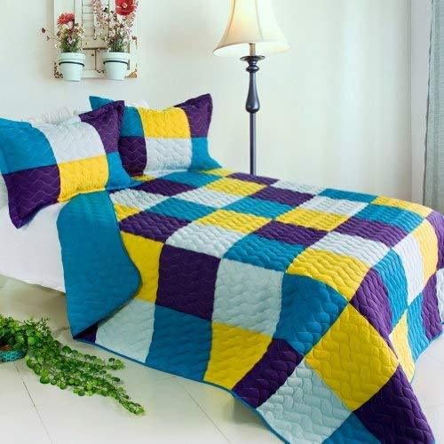 [Rhapsody] 3PC Vermicelli-Quilted Patchwork Quilt Set (Full/Queen Size)