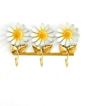 "Triple Hook Daisy Flower Design Yellow & White Wall Hooks -  10"" Long Metal image 2"