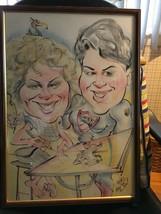 art work 22 x 16 signed framed cartoon drawing portrait - $15.97