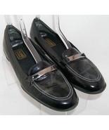 Munro American Brook black leather round toe snake print slip on loafers... - $46.43