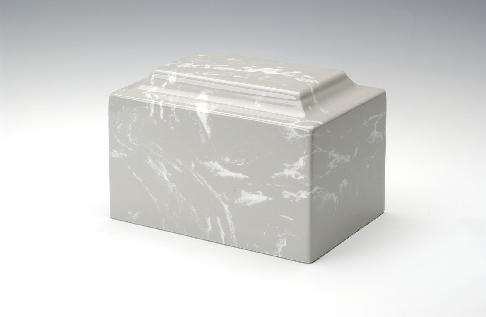 Classic Marble Silver Gray 50 Cubic Inches Cremation Urn For Ashes, TSA Approved
