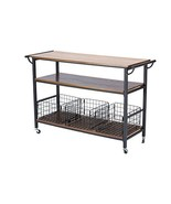BW Interiors Vintage Industrial Metal Kitchen Cart in Brown - $459.19