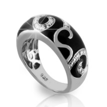 Solid Sterling Silver Enamel Diamond Cluster Band Ring»R218 - $93.03