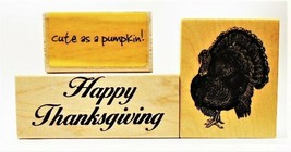 Set of 3 Thanksgiving-Themed Rubber Stamps Mounted on Wood