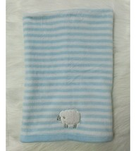Carters Baby Boy Blanket Sheep Lamb Blue White Striped Plush Security B350 - $24.99