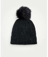 Ann Taylor Embellished Pom Pom Hat, 100% Acrylic, Black, One Size, NWT - $64.99