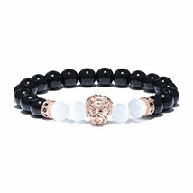 YGS Natural Stone Obsidian Moonstone Beads Bracelet Cool Gothic Animal Head Lion