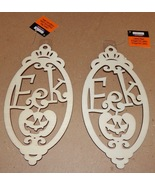 "Halloween Wooden Laser Tags Plaques Crafts Creatology 8"" x 4"" EEK Signs ... - $4.49"