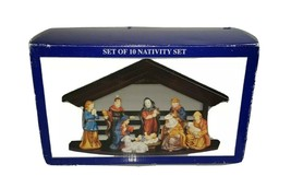 Nativity Set of 10, Painted Porcelain Figurines With Wooden Stable Chris... - $19.79