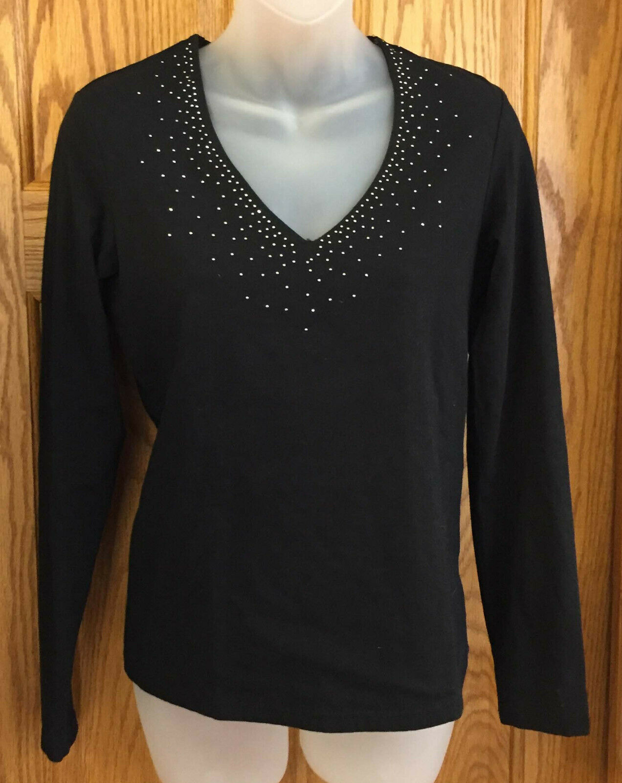 Black Top Shirt Womens Silver Stud Bling Size Small Long Sleeve Faded Glory