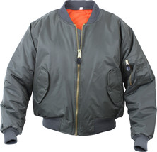 Men's Flight Bomber Jacket Military Air Force Inspired Reversible Silver... - $36.09