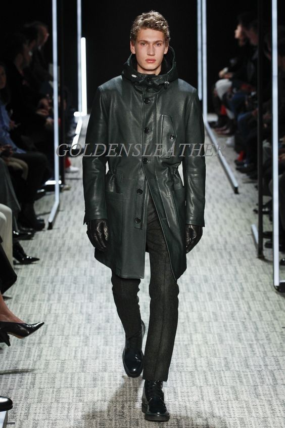 WINTER MEN LEATHER COAT TAILOR MADE REAL GENUINE LEATHER TRENCH COAT -13