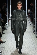 Winter Men Leather Coat Tailor Made Real Genuine Leather Trench Coat -13 - $189.05