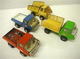 4 Vintage Tonka USA Pressed Steel Stake Dump Pickup + Red Truck Play or ... - $29.16