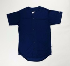 Majestic Baseball Practice Henley Full Button Jersey SS Shirt Men's Navy... - $12.49+