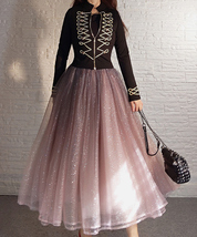 Rose Sparkle Skirt Long Tutu Glitter Skirt Rose Gold Sequin Skirt Floor Length image 9