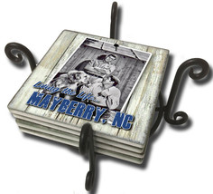 Sheriff Taylor Goober and Dog Mayberry NC Tumbled Tile Coasters - Set of... - $29.95
