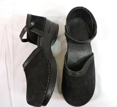 Dansko Shoes 40 Black Suede Leather Ankle Strap Worn One Time - $70.30