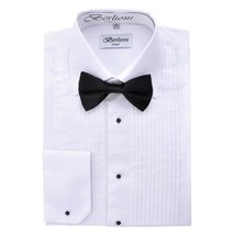 New Berlioni Italy Men's Premium Tuxedo Dress Shirt Laydown Collar Bow-Tie White