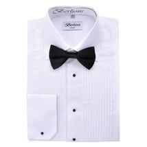 New Berlioni Italy Men's Premium Tuxedo Dress Shirt Laydown Collar Bow-Tie White image 1