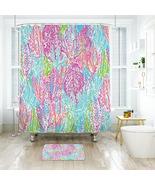Flower Lilly Let's Chaca 03 Shower Curtain Waterproof & Bath Mat For Bat... - $15.30+