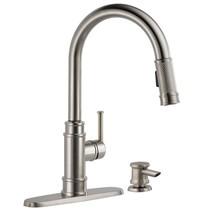 Allentown Single-Handle Pull-Down Sprayer Kitchen Faucet with Soap in Sp... - $269.04