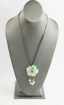 ESTATE VINTAGE Jewelry CHINESE EXPORT JADEITE FLOWER PENDANT NECKLACE - $125.00